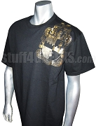 Alpha Phi Alpha Metallic Foil Crest T-Shirt, Black Shirt with Gold Crest - EMBROIDERED