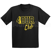 4/Four Club Screen Printed T-Shirt, Black/Old Gold