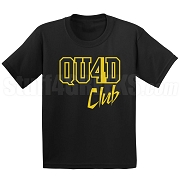 4/Quad Club Screen Printed T-Shirt, Black/Old Gold