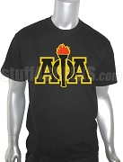 Alpha Phi Alpha Greek Letter Screen Printed T-Shirt with Torch, Black