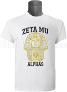 Alpha Phi Alpha Zeta Mu Chapter Screen Printed T-Shirt with Vintage Pharaoh, White