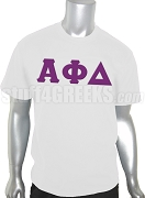Alpha Phi Delta Greek Letter Screen Printed T-Shirt, White