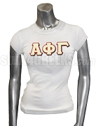 Alpha Phi Gamma Screen Printed T-Shirt with Greek Letters, White