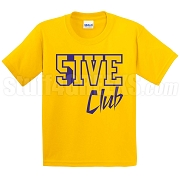 5/Five Club Screen Printed T-Shirt, Gold/Royal