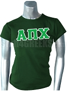 Alpha Pi Chi Greek Letter Screen Printed T-Shirt, Forest Green