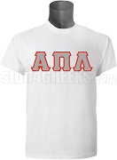 Alpha Pi Lambda Greek Letter Screen Printed T-Shirt, White