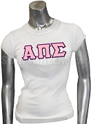 Alpha Pi Sigma Screen Printed T-Shirt with Greek Letters, White