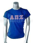 Alpha Pi Zeta Screen Printed T-Shirt with Greek Letters, Royal Blue
