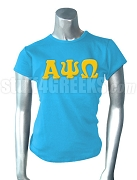 Alpha Psi Omega Ladies' Screen Printed T-Shirt with Greek Letters, Columbia Blue