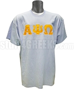 Alpha Psi Omega Men's Screen Printed T-Shirt with Greek Letters, Columbia Blue