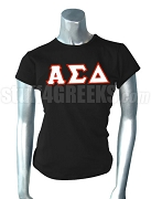 Alpha Sigma Delta Greek Letter Screen Printed T-Shirt, Black