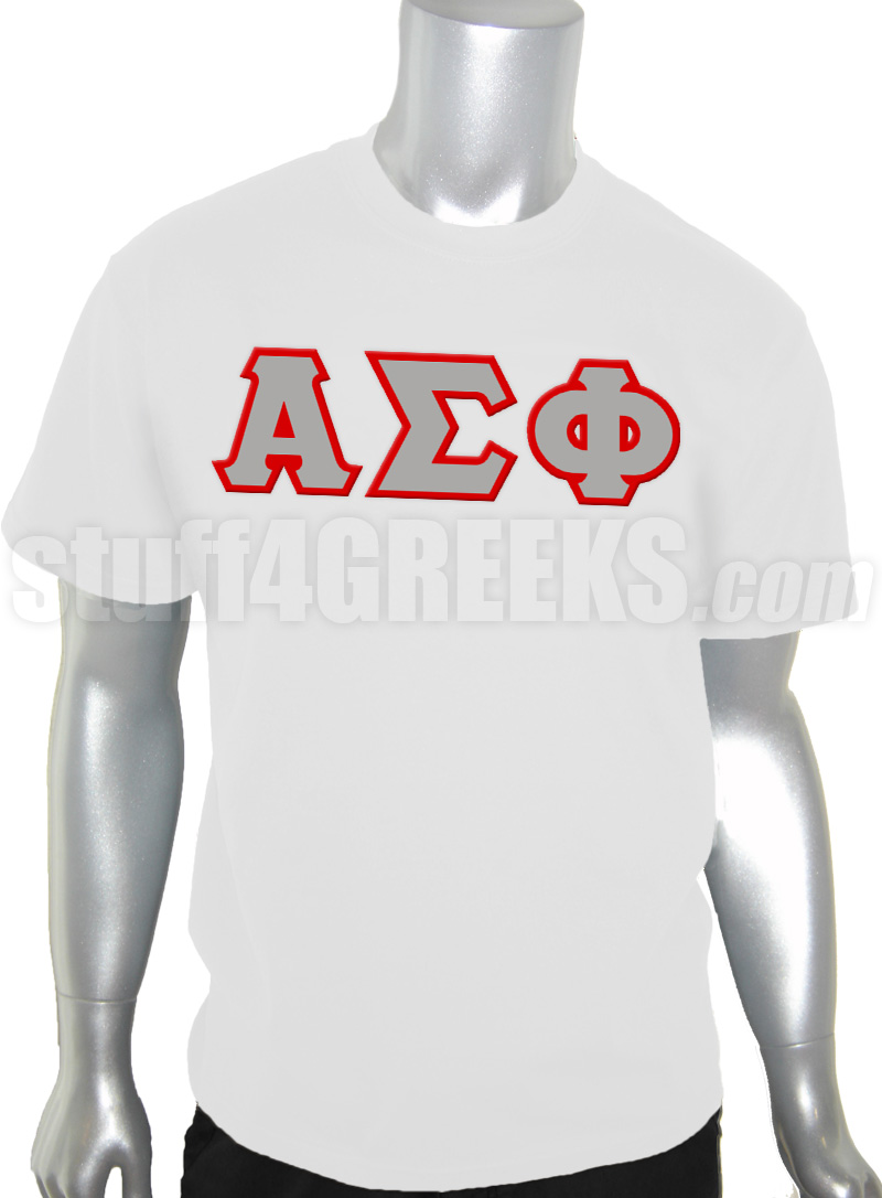 Alpha Sigma Phi Greek Letter Screen Printed T Shirt White