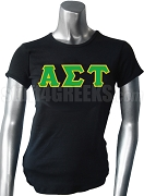 Alpha Sigma Tau Greek Letter Screen Printed T-Shirt, Black