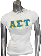 Alpha Sigma Tau Greek Letter Screen Printed T-Shirt, White