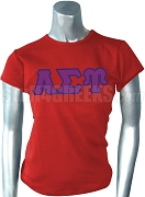 Alpha Sigma Upsilon Ladies' Screen Printed T-Shirt with Greek Letters, Red