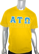 Alpha Tau Omega Greek Letter Screen Printed T-Shirt, Gold