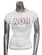 Alpha Theta Omega Greek Letter Screen Printed T-Shirt, White
