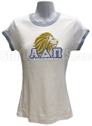 Alpha Delta Pi with Lion, White Ringer Tee