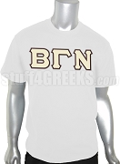Beta Gamma Nu Greek Letter Screen Printed T-Shirt, White