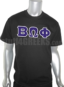 Beta Omega Phi Greek Letter Screen Printed T-Shirt, Black