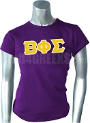 Beta Phi Sigma Greek Letter Screen Printed T-Shirt, Purple