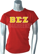 Beta Sigma Zeta Greek Letter Screen Printed T-Shirt, Red