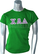 Chi Alpha Delta Greek Letter Screen Printed T-Shirt, Kelly Green