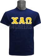 Chi Alpha Omega Greek Letter Screen Printed T-Shirt, Navy Blue