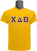Chi Delta Beta Greek Letter Screen Printed T-Shirt, Gold