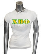 Chi Eta Phi Screen Printed T-Shirt with Greek Letters and Caduceus, White