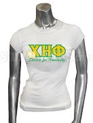 Chi Eta Phi Screen Printed T-Shirt with Greek Letters, Motto, and Flower, White