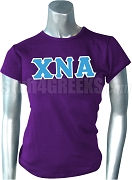 Chi Nu Alpha Greek Letter Screen Printed T-Shirt, Purple