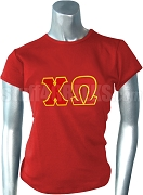 Chi Omega Screen Printed T-Shirt with Greek Letters, Red