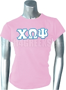 Chi Omega Psi Greek Letter Screen Printed T-Shirt, Pink