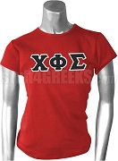 Chi Phi Sigma Greek Letter Fitted Screen Printed T-Shirt, Red