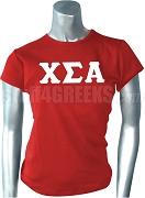 Chi Sigma Alpha Greek Letter Screen Printed T-Shirt, Red