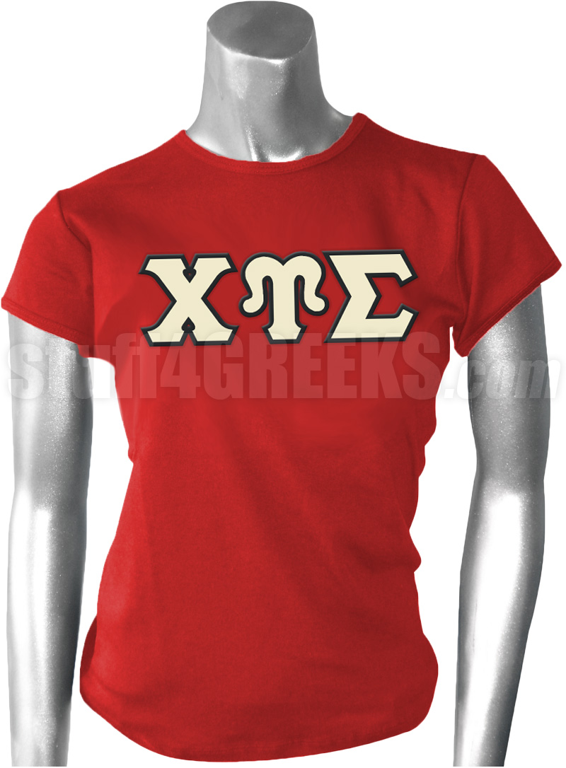 Chi Upsilon Sigma Greek Letter Screen Printed T Shirt Red