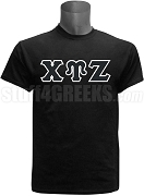 Chi Upsilon Zeta Greek Letter Screen Printed T-Shirt, Black