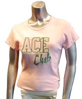 Pink/Kelly Ace Club Screen Printed T-Shirt