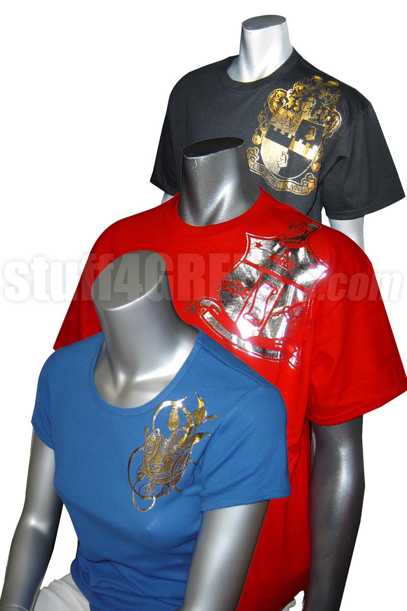 New Metallic Foil T Shirt With Your Fraternity Or Sorority Crest
