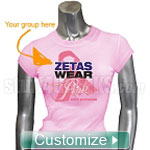 Custom Greek Sorority Pink Ribbon Breast Cancer Awareness Screen Printed T-Shirt