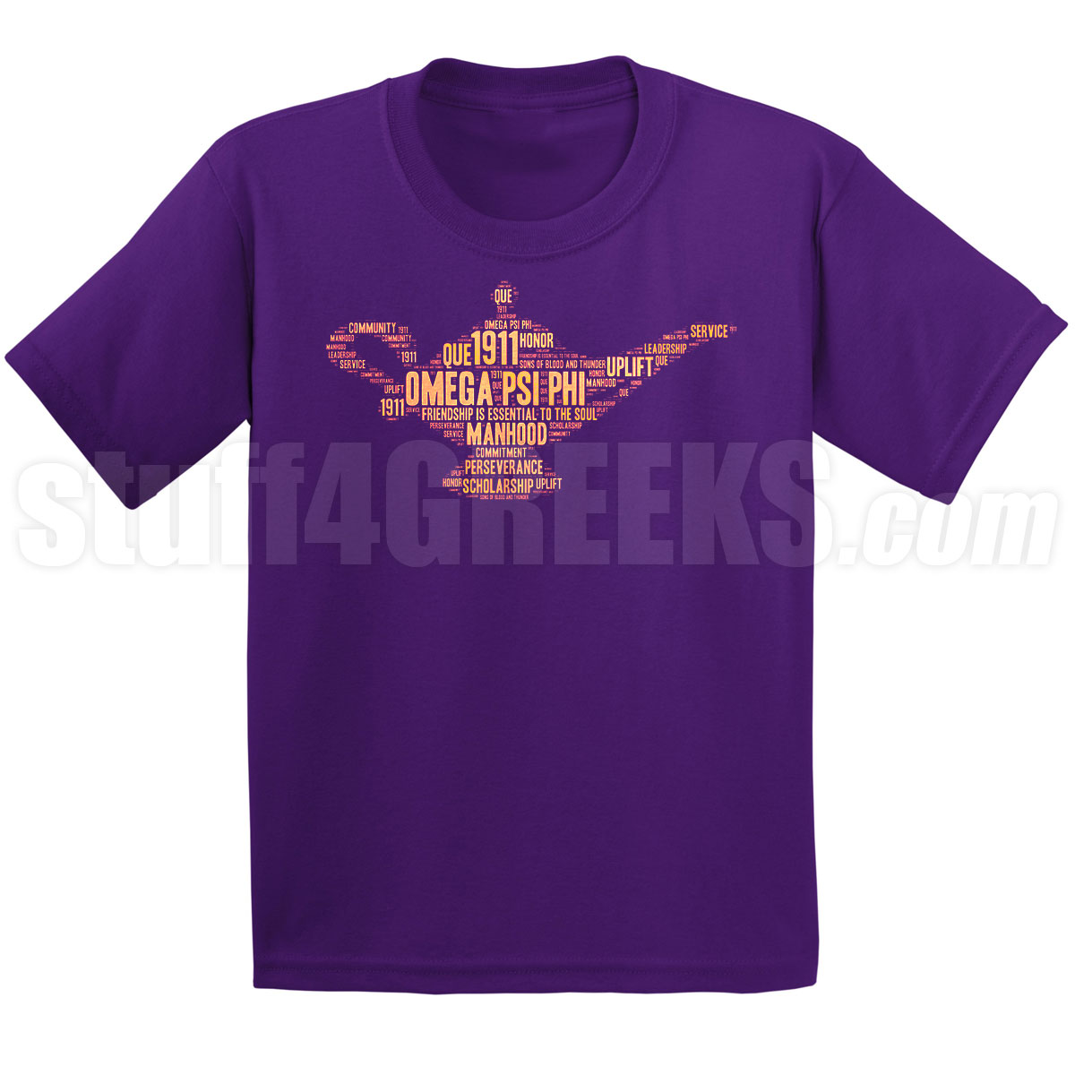 Omega Psi Phi Lamp In Gold On Purple Screen Printed T