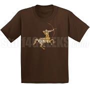 Iota Phi Theta Centaur in Gold on Brown DTG Printed T-Shirt - Designs by Krunkite