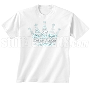 Zeta Tau Alpha Crown Screen Printed T-Shirt, White - Designs by Krunkite