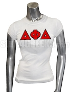 Delta Phi Delta Greek Letter Ladies' Screen Printed T-Shirt, White