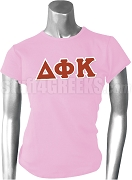 Delta Phi Kappa Greek Letter Screen Printed T-Shirt, Pink