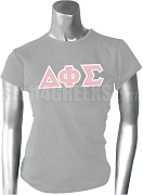 Delta Phi Sigma Greek Letter Screen Printed T-Shirt, Gray