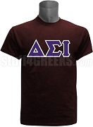 Delta Sigma Iota Greek Letter Screen Printed T-Shirt, Maroon
