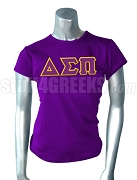 Delta Sigma Pi Ladies' Greek Letter Screen Printed T-Shirt, Purple