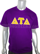 Delta Tau Delta Screen Printed T-Shirt with Greek Letters, Purple